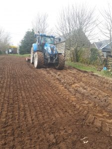 Rotavating - a single run disc harrowed and rotovated all in one - tilled the sod and removed large stones